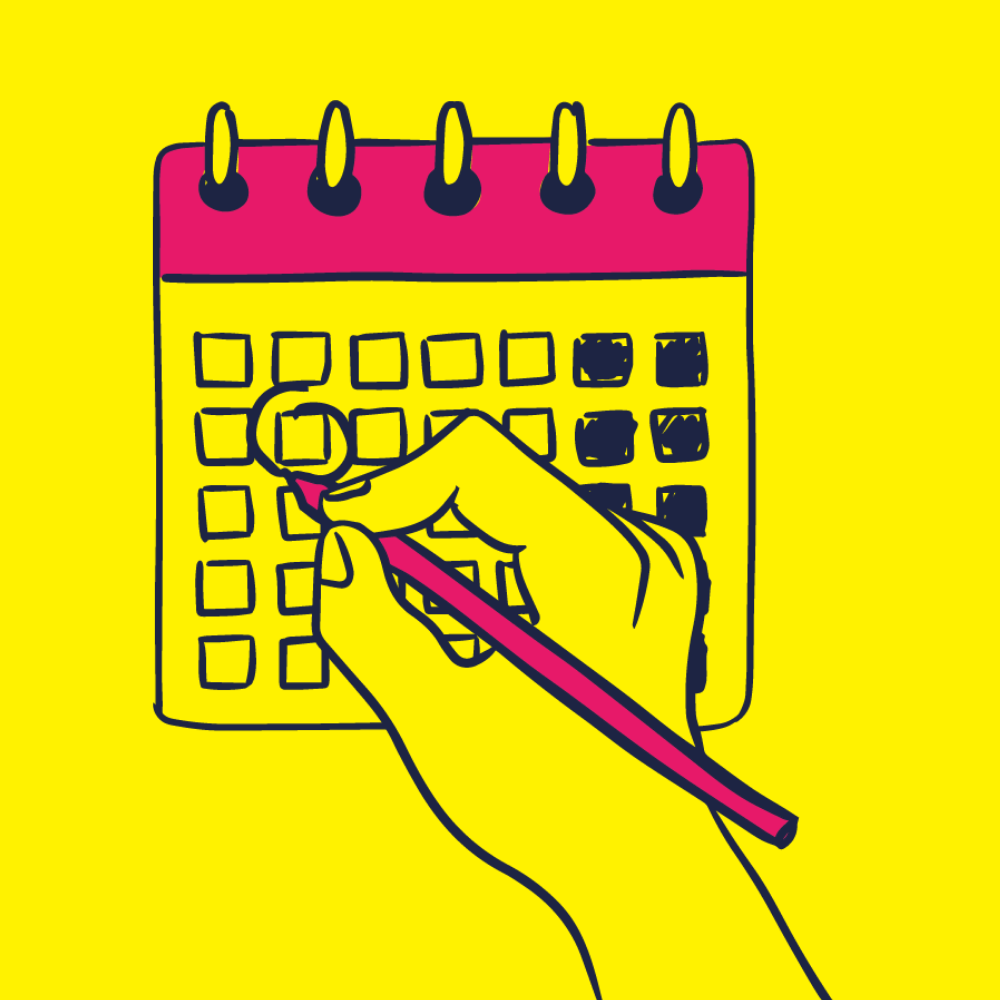 Illustration of a hand writing on a calendar
