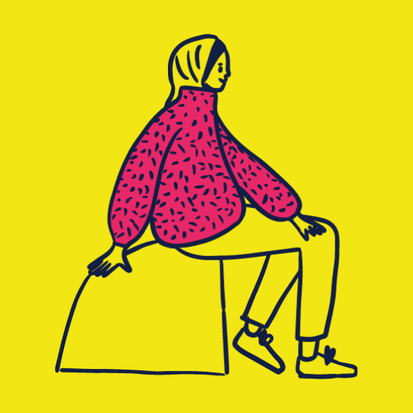 illustration of a person wearing a pink jumper with dots. The person is sitting rock and wearing a head scarf.