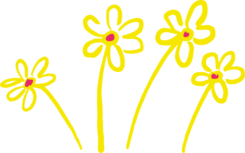 Illustration of yellow flowers with red centre