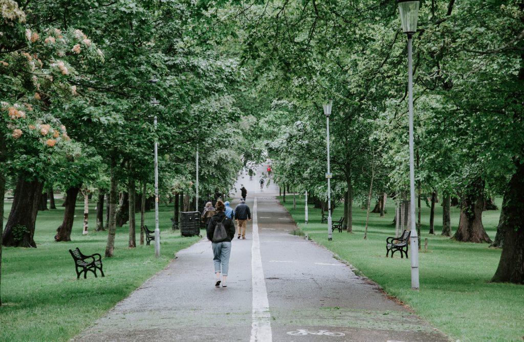 People walking down Middle Meadow Walk in Edinburgh