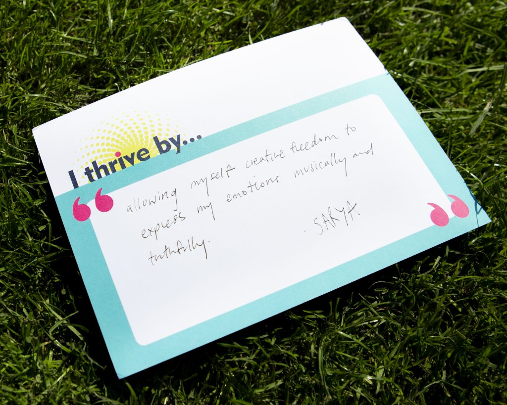 """I Thrive by postcard with """"expressing myself"""