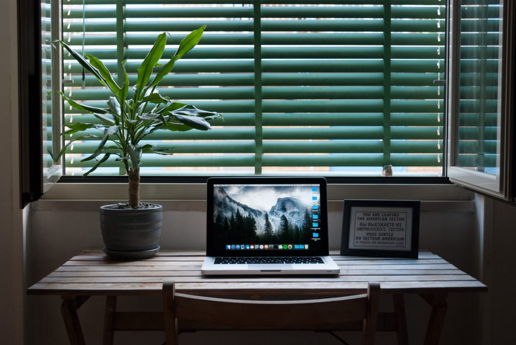 A laptop sitting on a desk next to a houseplant and a frames photo.