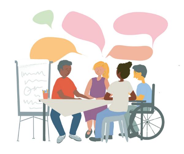 Peer Group Facilitation Illustration. People sitting around a table