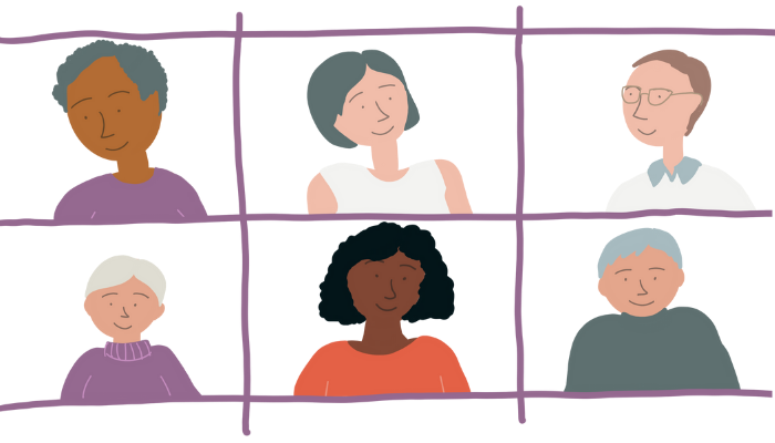 Illustrations of people discussing What makes engagement meaningful